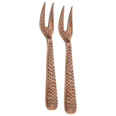 Thirstystone® Hammered Set of 2 Copper-Plated Cocktail Forks