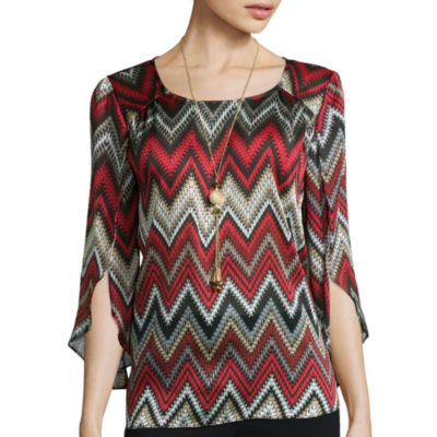 Alyx® 3/4 Split-Sleeve Print Top with Necklace
