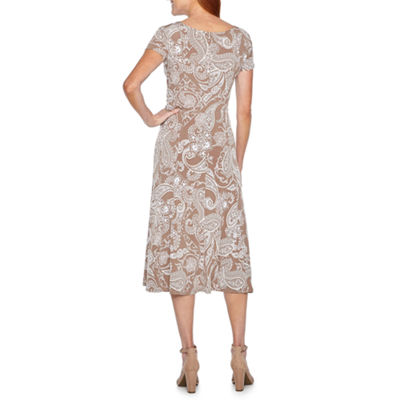 Perceptions Short Sleeve Puff Print Paisley Fit & Flare Dress