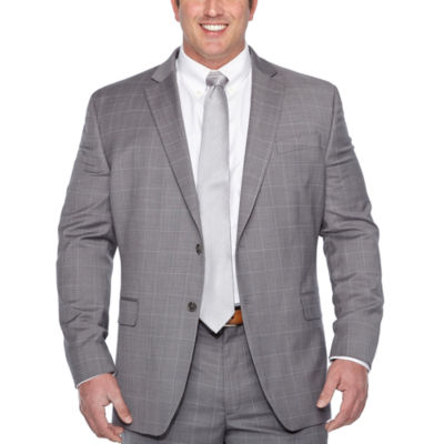 Stafford Gray Windowpane Classic Fit Suit Jacket - Big & Tall