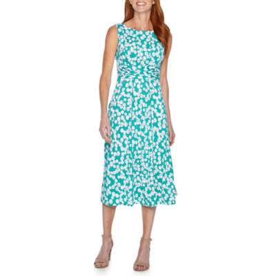 Perceptions Sleeveless Polka Dot Fit & Flare Dress