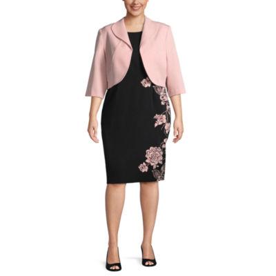 Maya Brooke Sleeveless Jacket Dress-Plus