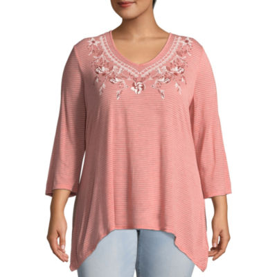 Unity World Wear 3/4 Sleeve V-Neck Printed Embroidered Tunic - Plus