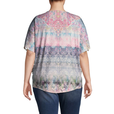 Unity World Wear Short Sleeve Pom Pom Printed Popover - Plus