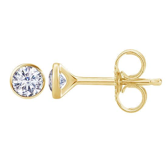 1/4 CT. T.W. Genuine White Diamond 14K Gold 3.6mm Round Stud Earrings