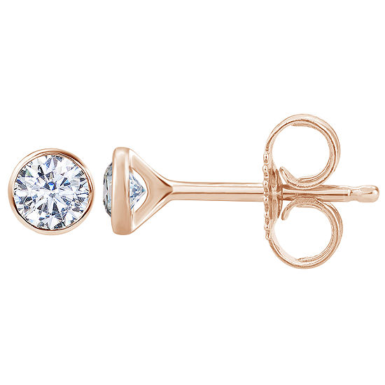 1/3 CT. T.W. Genuine White Diamond 14K Gold 4mm Round Stud Earrings