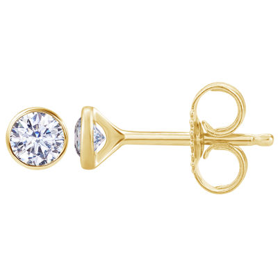 1/3 CT. T.W. Genuine White Diamond 14K Gold 4mm Round Stud Earrings