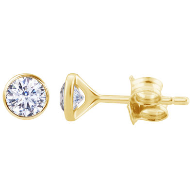 3/8 CT. T.W. Genuine White Diamond 14K Gold 4.4mm Round Stud Earrings