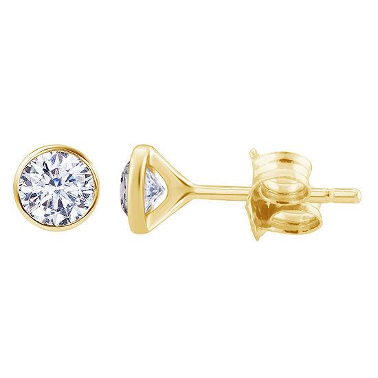 3/4 CT. T.W. Genuine White Diamond 14K Gold 5.6mm Round Stud Earrings