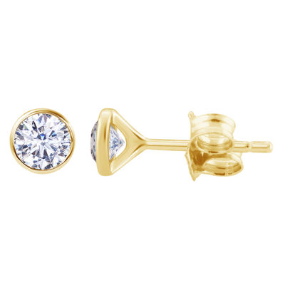 1 CT. T.W. Genuine White Diamond 14K Gold 6mm Round Stud Earrings