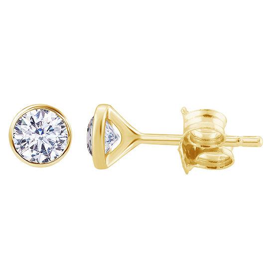 1 1/2 CT. T.W. Genuine White Diamond 14K Gold 6.7mm Round Stud Earrings
