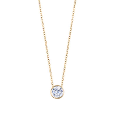 Womens Diamond Accent Genuine White Diamond 14K Gold Round Pendant Necklace