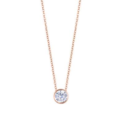 Womens 1/6 CT. T.W. Genuine White Diamond 14K Gold Round Pendant Necklace
