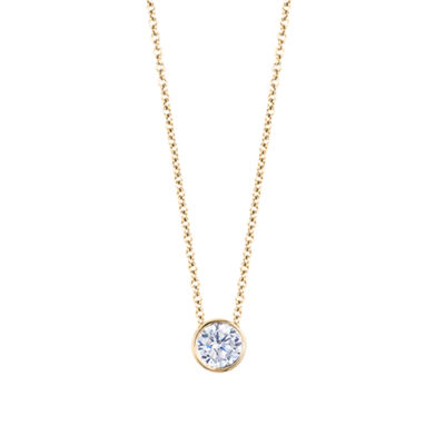Womens 1/6 CT. T.W. Genuine White Diamond 14K Gold Round Pendant Necklace