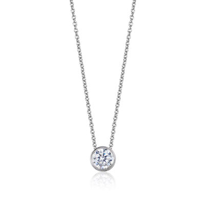 Womens 1/4 CT. T.W. Genuine White Diamond 14K Gold Round Pendant Necklace