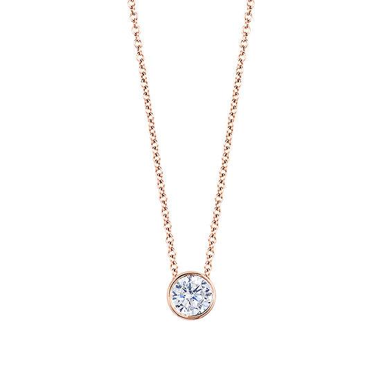 Womens 1/4 CT. T.W. Genuine White Diamond 14K Gold Round Pendant Necklace