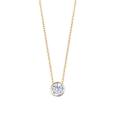 Womens 1/4 CT. T.W. Genuines White Diamond 14K Gold Round Pendant Necklace