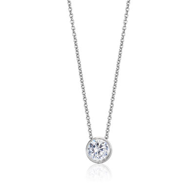 Womens 1/3 CT. T.W. Genuine White Diamond 14K Gold Round Pendant Necklace