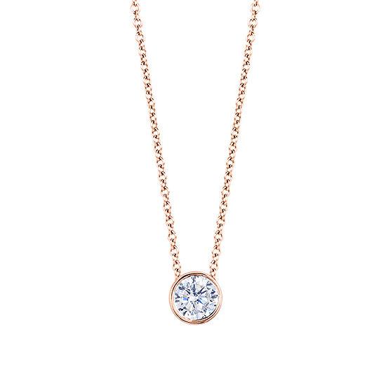 Womens 1/3 CT. T.W. Genuine White Diamond 14K Gold Round Pendant Necklace