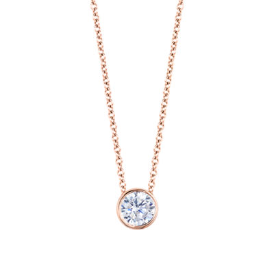 Womens 1/2 CT. T.W. Genuine White Diamond 14K Gold Round Pendant Necklace