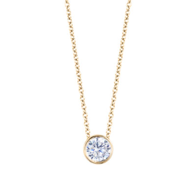 Womens 1/2 CT. T.W. Genuine White Diamond 14K Gold Round Pendant Necklace