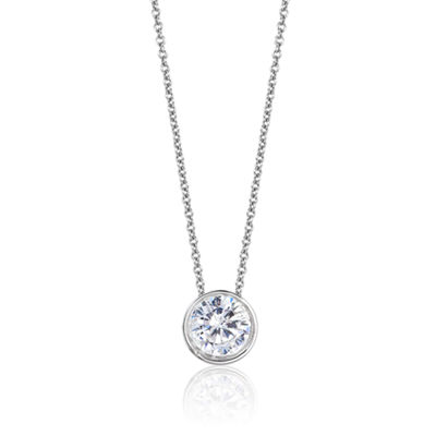 Womens 3/4 CT. T.W. Genuine White Diamond 14K Gold Round Pendant Necklace