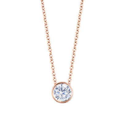 Womens 3/4 CT. T.W. Genuine White Diamond 14K Gold Round Pendant Necklace
