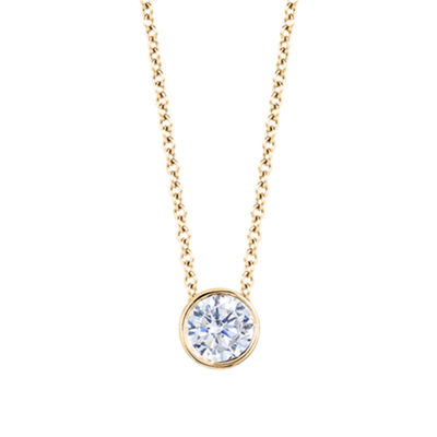Womens 1 CT. T.W. Genuine White Diamond 14K Gold Round Pendant Necklace