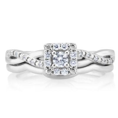Womens 1/5 CT. T.W. White Diamond 10K Gold Bridal Set