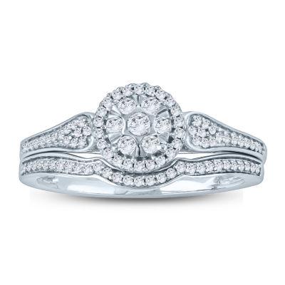 Womens 1/3 CT. T.W. White Diamond 10K Gold Bridal Set