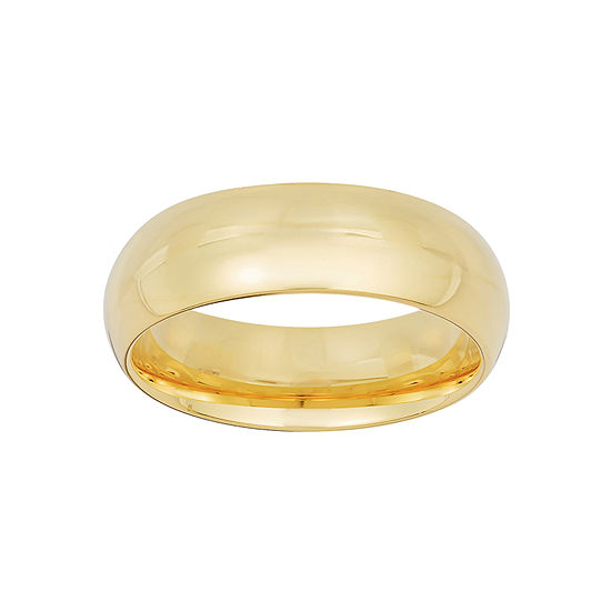 Mens 6MM 10K Gold Over Silver Sterling Silver Wedding Band