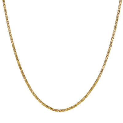 14K Gold Solid Byzantine 24 Inch Chain Necklace
