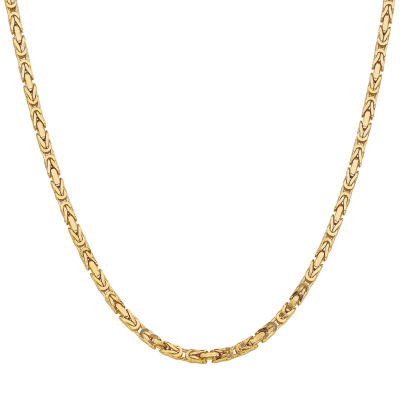 14K Gold 24 Inch Solid Byzantine Chain Necklace