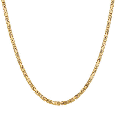14K Gold Solid Byzantine 30 Inch Chain Necklace