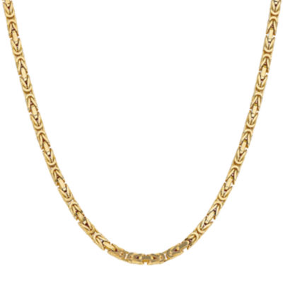 14K Gold Solid Byzantine 18 Inch Chain Necklace