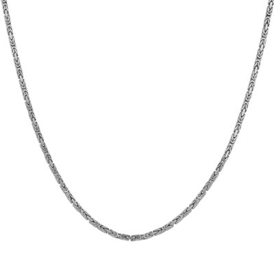 14K White Gold 24 Inch Solid Byzantine Chain Necklace
