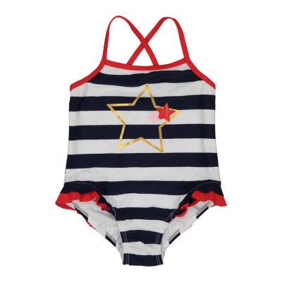 Kiko & Max Stripe One Piece Swimsuit Baby Girls