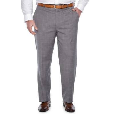 Stafford Gray Windowpane Classic Fit Suit Pants - Big & Tall