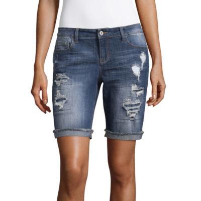 """Vanilla Star 9"""" Denim Bermuda Shorts-Juniors"""