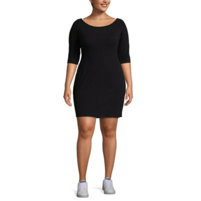 City Streets 3/4 Sleeve Outside Taping Bodycon Dress-Juniors Plus