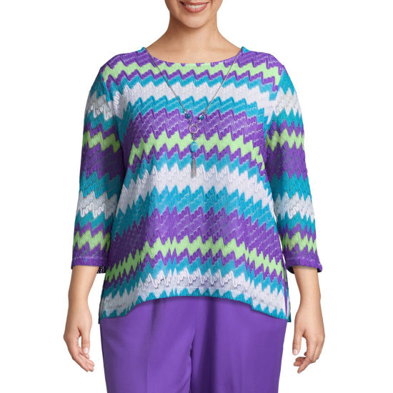 Alfred Dunner All Aflutter Flame Stitch T-Shirt With Necklace- Plus
