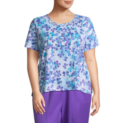 Alfred Dunner All Aflutter Scattered Butterfly T-Shirt- Plus