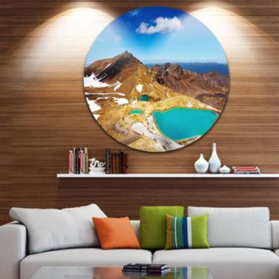 Design Art New Zealand Emerald Lakes Disc Photography Circle Metal Wall Art
