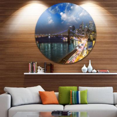 Design Art New York City Wonderful Sunset View Disc Cityscape Photo Circle Metal Wall Art