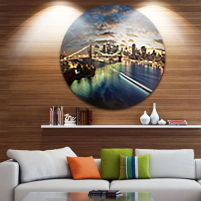 Design Art New York Under Cloudy Skies Disc Cityscape Photo Circle Metal Wall Art