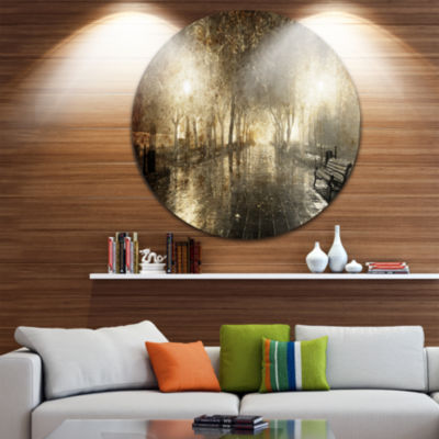 Design Art Night Alley with Lights Disc Photography Landscape Circle Metal Wall Art