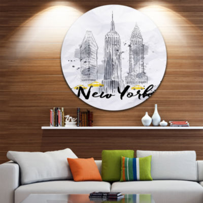 Design Art New York Buildings Watercolor Disc Cityscape Circle Metal Wall Art