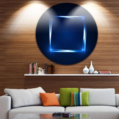 Design Art Neon Shape Blue Abstract Circle Metal Wall Art