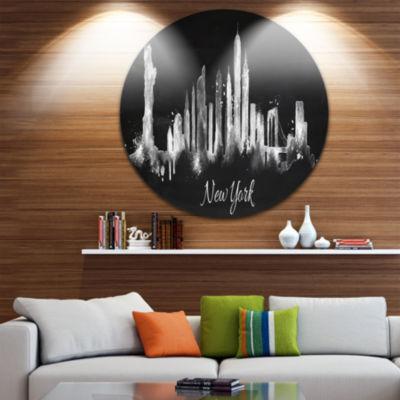 Design Art New York Dark Silhouette Disc CityscapePainting Circle Metal Wall Art