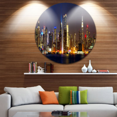 Design Art New York Skyline at Night Cityscape Photo Circle Metal Wall Art
